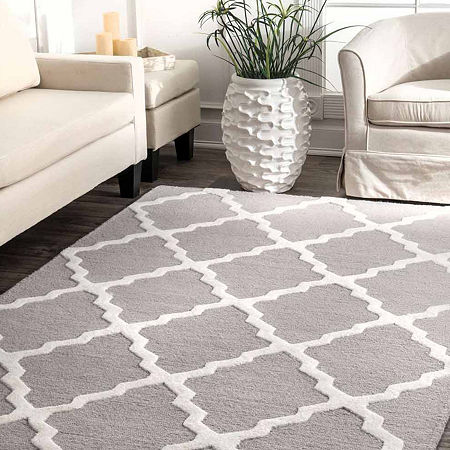 nuLoom Hand Hooked Marrakech Trellis Rug, One Size , Gray
