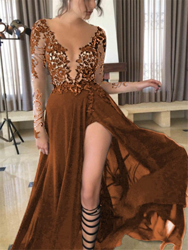 Ericdress Sexy V-Neck Long Sleeves Black Prom Dress