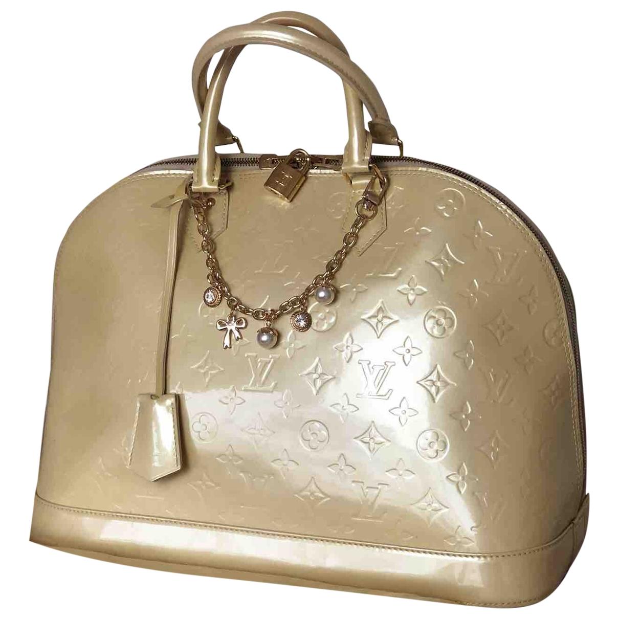 Louis Vuitton - Sac a main Alma pour femme en cuir verni - beige