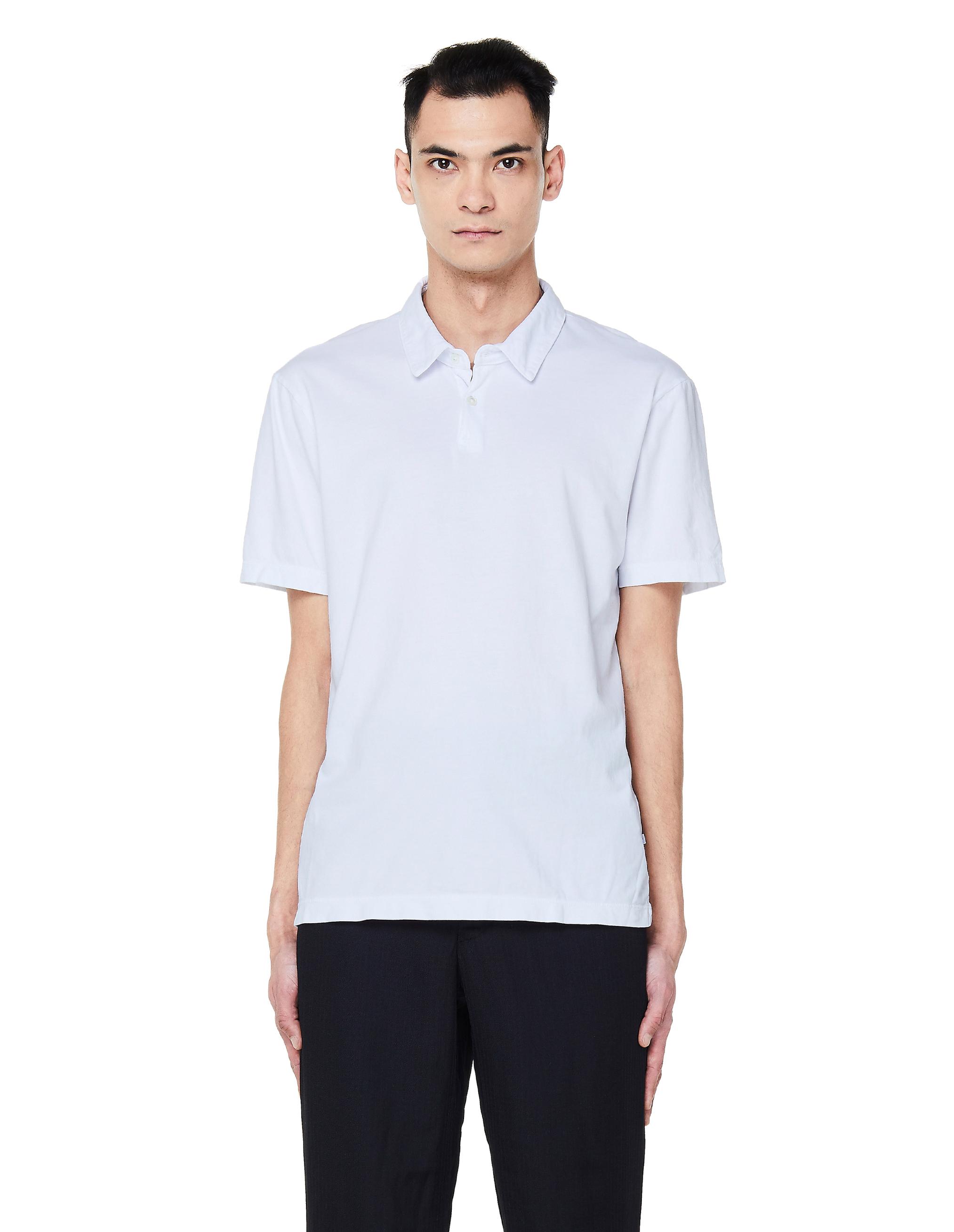 James Perse White Cotton Polo T-Shirt