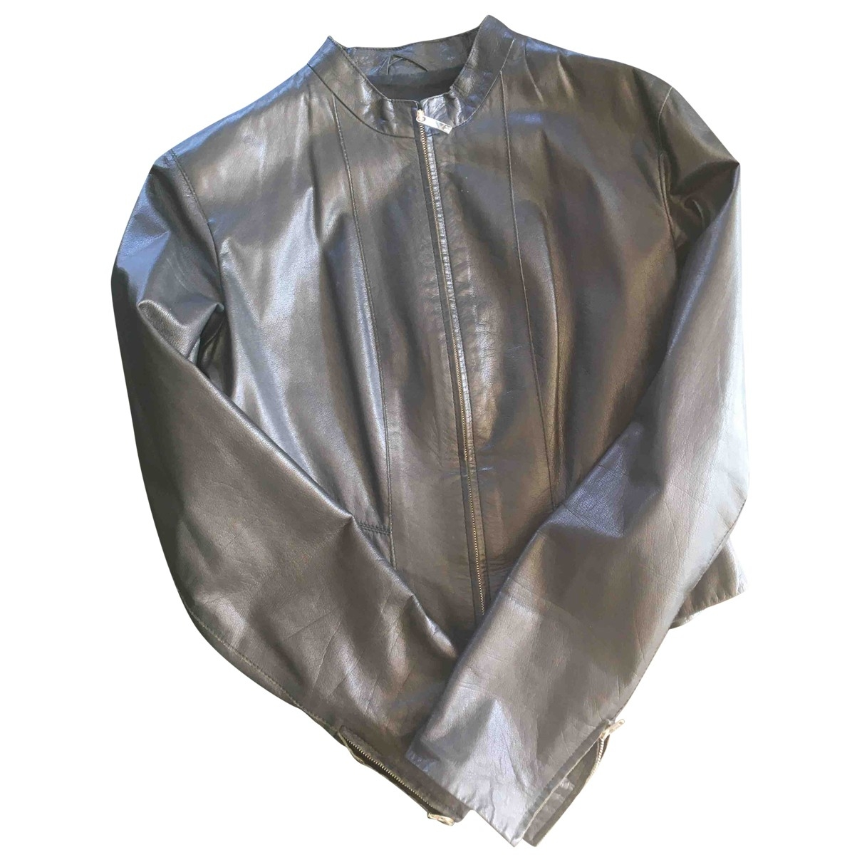 Max Mara \N Black Leather Leather jacket for Women 42 IT