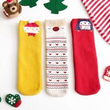 3 Paare Kleinkind Kinder Socken mit Weihnachten Tier Muster