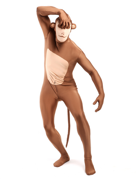 Milanoo Morph Suit Monkey Style Zentai Suit Light Brown Full Body Lycra Spandex Bodysuit