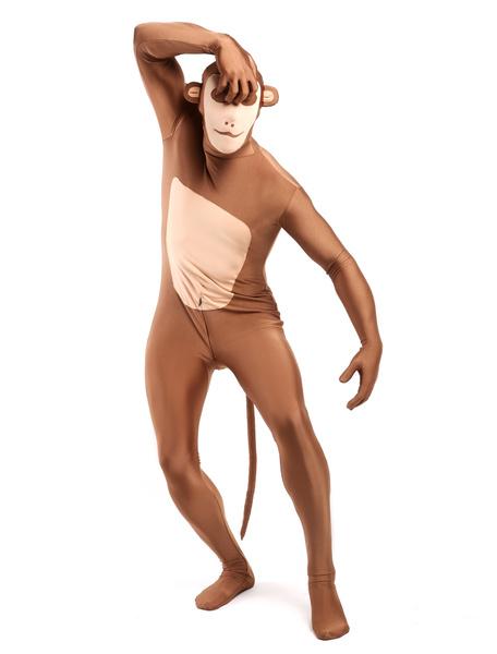 Milanoo Morph Suit Monkey Style Zentai Suit Light Brown Full Body Lycra Spandex Bodysuit