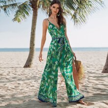 Surplice Wrap Belted Tropical Print Cami Jumpsuit