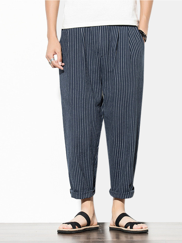 Mens Fashion Striped Loose Fit Elastic Waist Casual Straight Pants