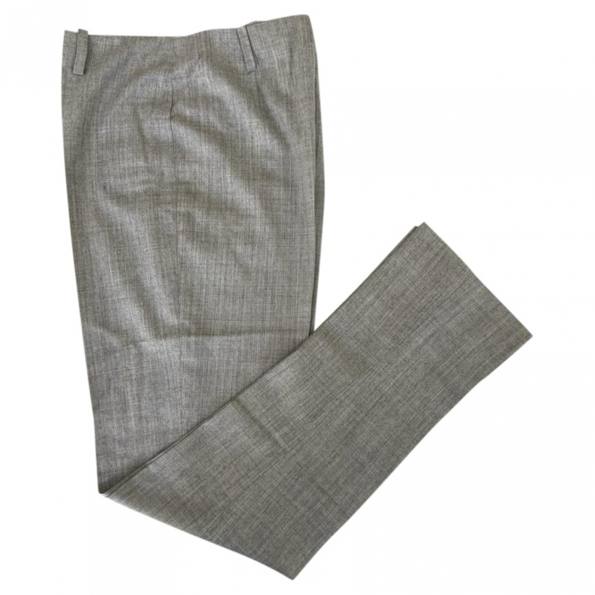 Miu Miu \N Grey Wool Trousers for Women 42 IT