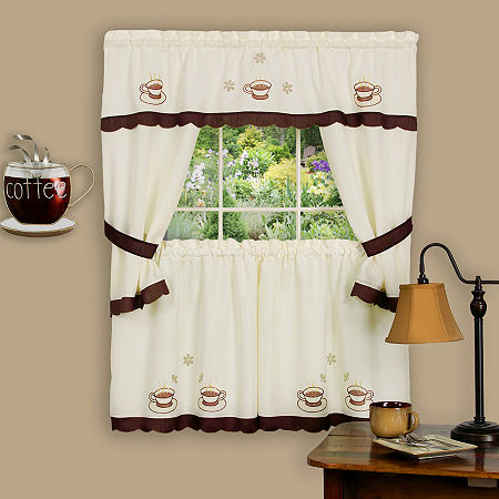 Cuppa Joe Embellished Cottage Rod-Pocket Window Tiers & Tailored Topper Set, One Size , Brown