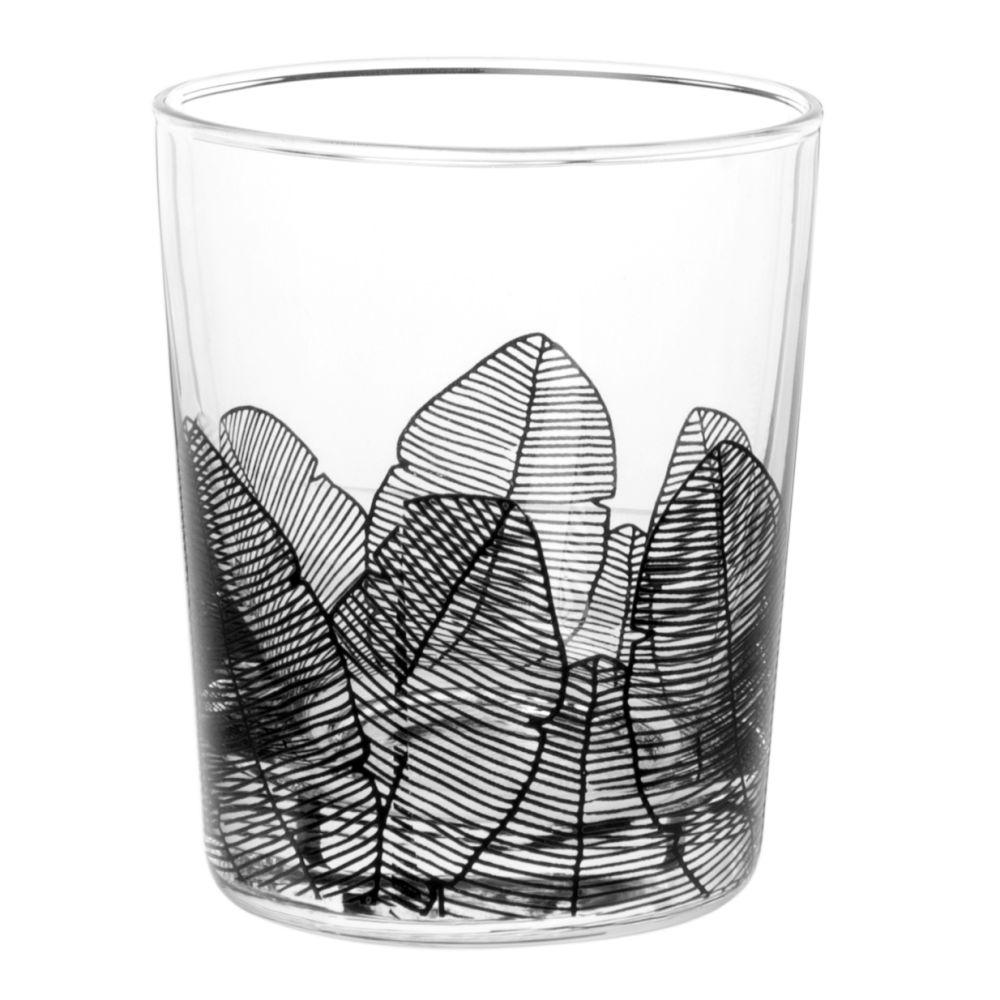 Glasbecher, bedruckt mit schwarzen Palmen