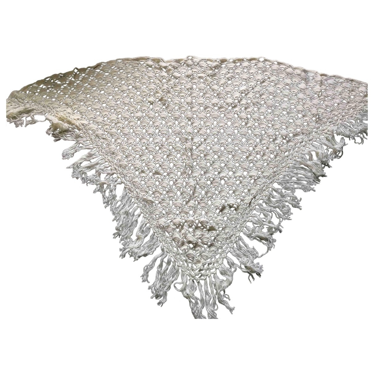 Non Signé / Unsigned \N White Wool scarf for Women \N