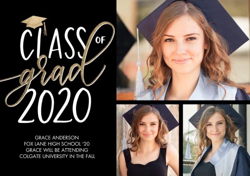 2020 Graduation Announcements 5x7 Cards, Premium Cardstock 120lb, Card & Stationery -Class of Grad 2020