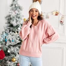 Cable Knit Drop Shoulder V-neck Sweater