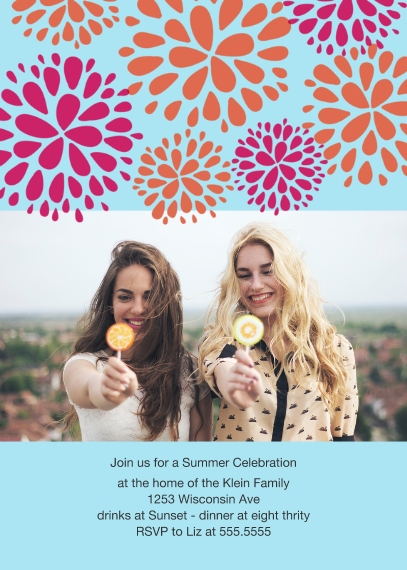 Party Invitations 5x7 Folded Cards, Standard Cardstock 85lb, Card & Stationery -Endless Petals Summer Party