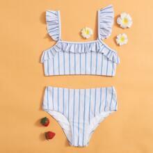 Bikini Badeanzug mit Streifen und Raffungsaum