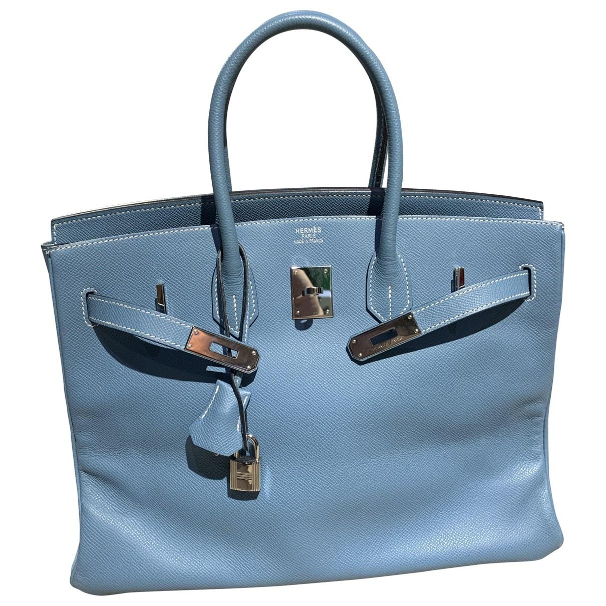 Hermes Birkin 35 Handtasche in  Blau Leder