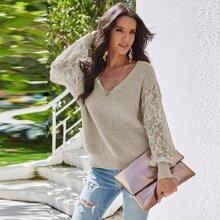 Pullover mit Twist hinten und Kontrast Spitze an Ärmeln