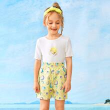 Toddler Girls Allover Shell Print Shorts