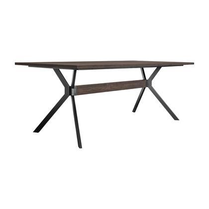 LCNVDISMK Nevada Rustic Oak Wood Trestle Base Dining Table In Dark