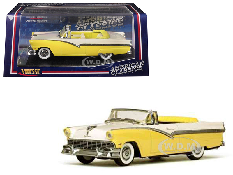 1956 Ford Fairlane Open Convertible Goldenglow Yellow and Colonial White 1/43 Diecast Model Car by Vitesse