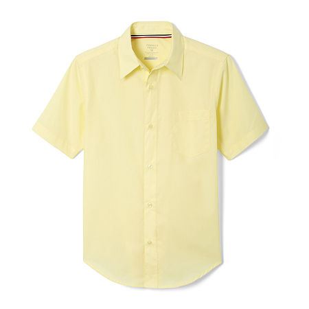 French Toast Toddler Boys Point Collar Short Sleeve Wrinkle Resistant Dress Shirt, 3t , Yellow