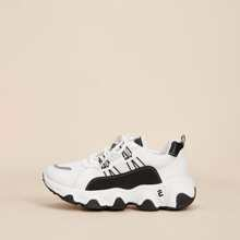 Colorblock Lace-up Chunky Trainers