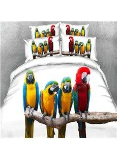 Vivid 3D Parrot Digital Printing 5-Piece Comforter Sets