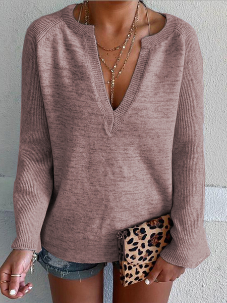 Yoins Pink V-neck Long Sleeves Knit Top