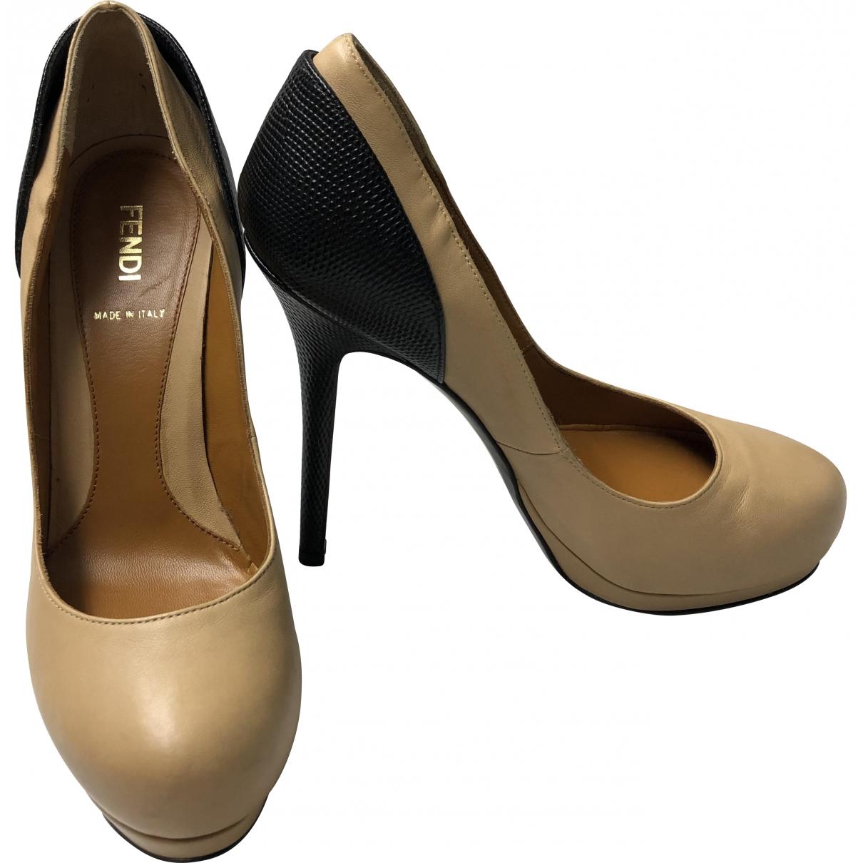 Fendi \N Beige Leather Heels for Women 37 EU