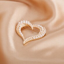 Faux Pearl Decor Heart Design Brooch