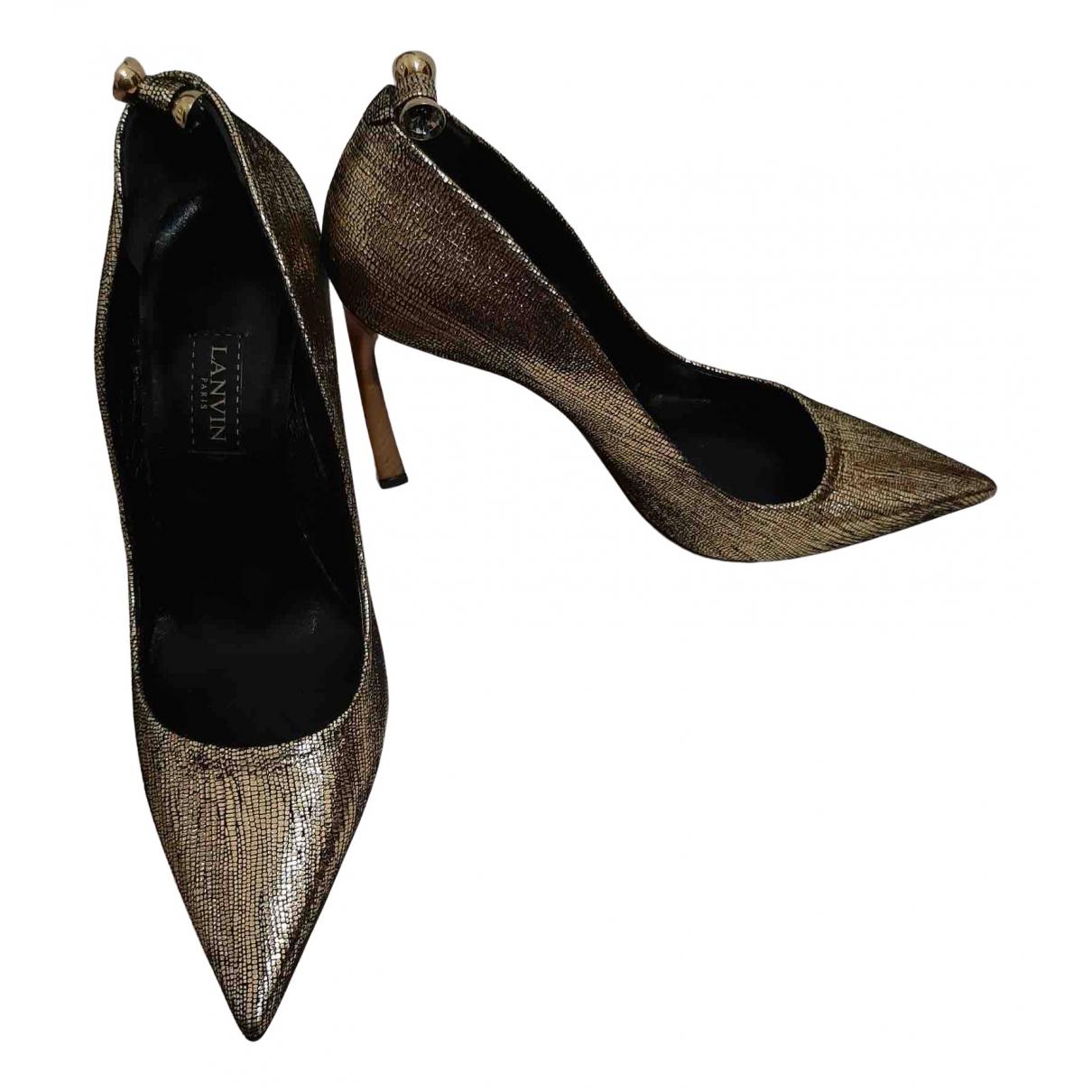 Lanvin - Escarpins   pour femme en cuir - dore