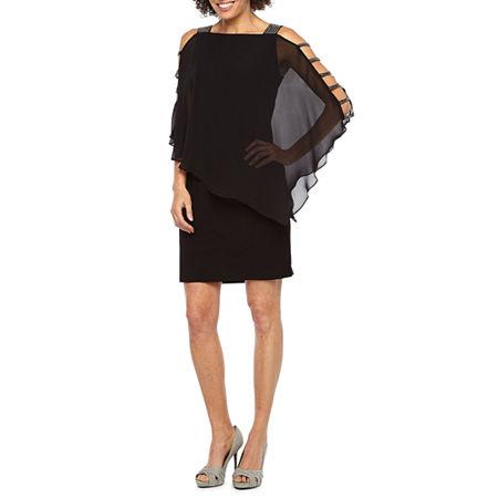 MSK 3/4 Sleeve Embellished Cape Sheath Dress, Large , Black