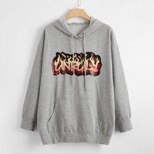 Hoodie mit Buchstaben & Feuer Muster