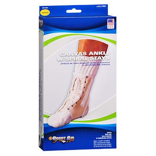 Sport Aid Canvas Ankle Support With Spiral Stays Medium each by Scott Specialties