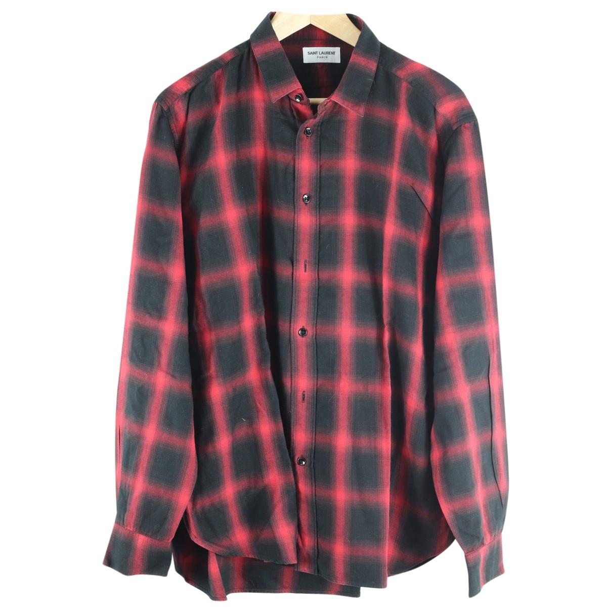 Saint Laurent \N Red Cotton Shirts for Men 42 EU (tour de cou / collar)