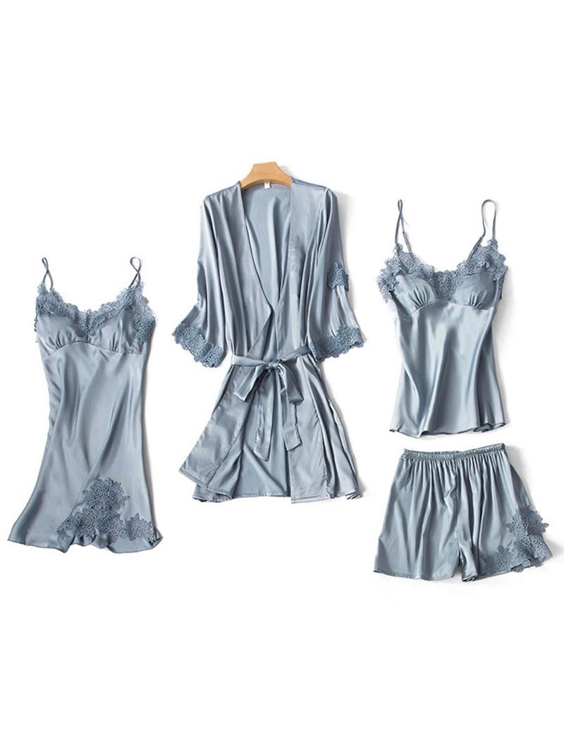 Ericdress Plain Silk Home Shorts Robe Sleepwear Suit 4 Pieces