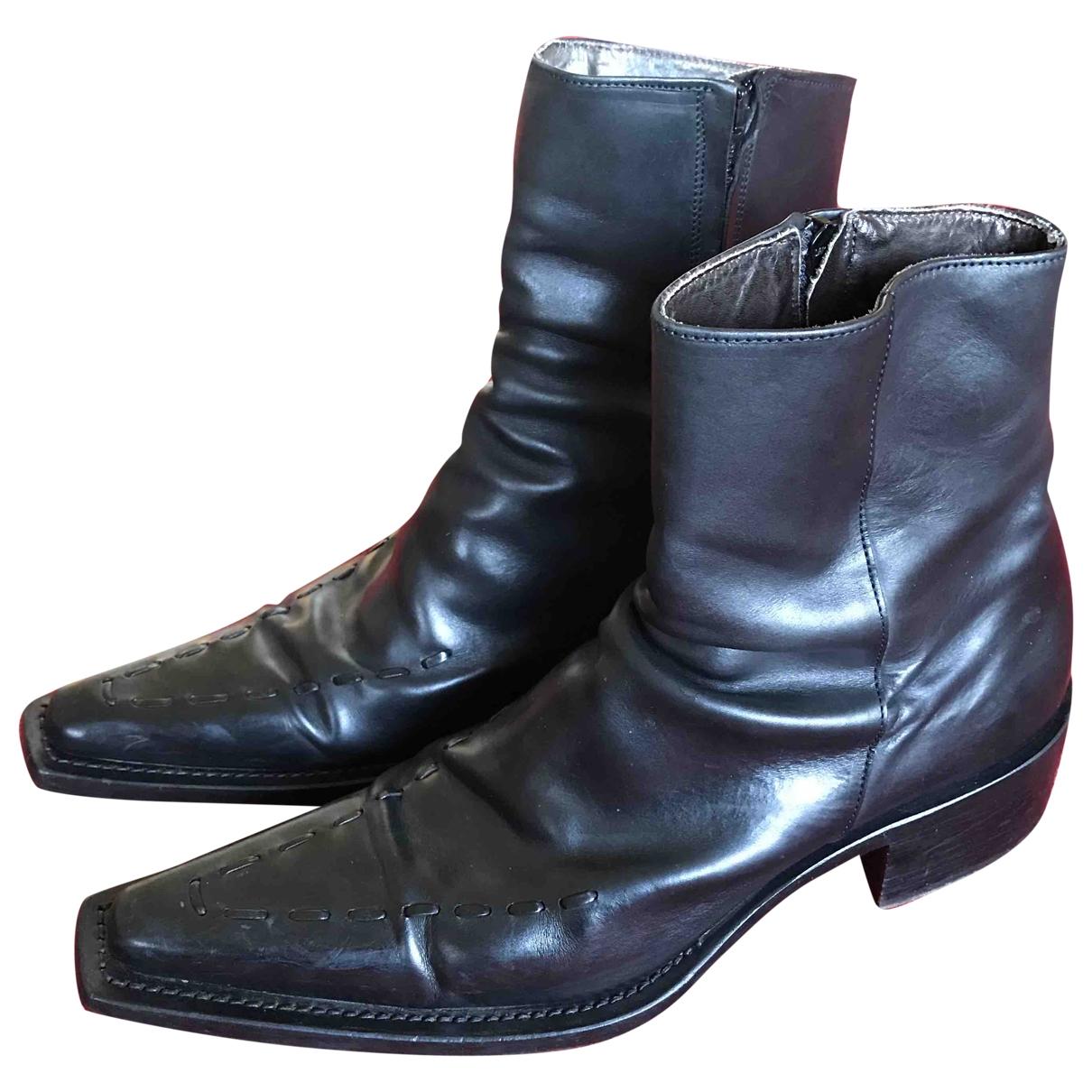 Dsquared2 - Bottes.Boots   pour homme en cuir - noir