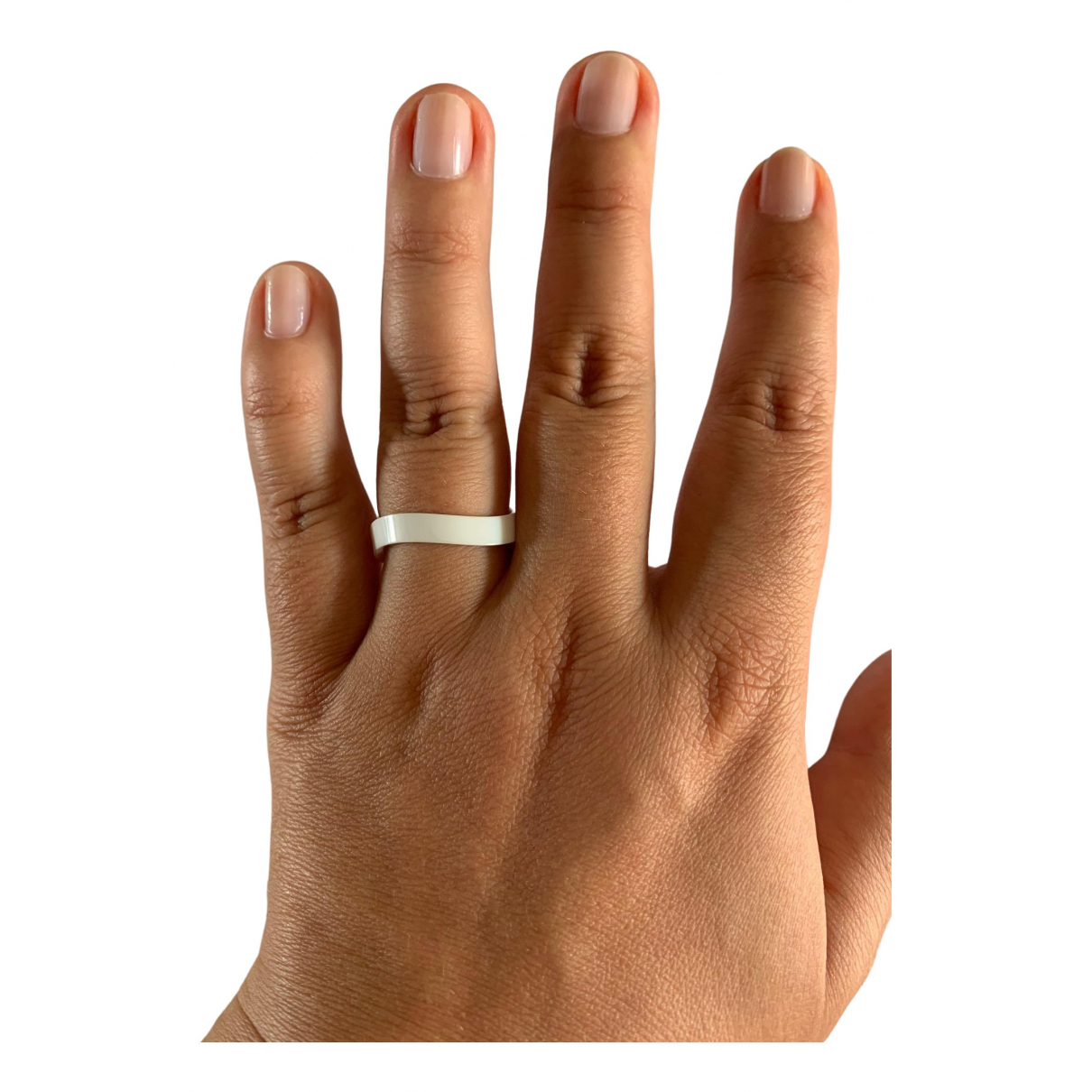 Omega \N White Ceramic ring for Women 60 MM