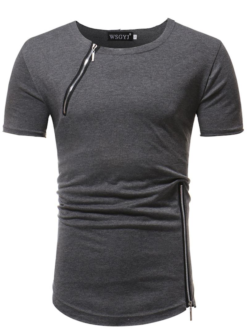 Ericdress Plain Zip Designed Mens Short Sleeve T Shirt