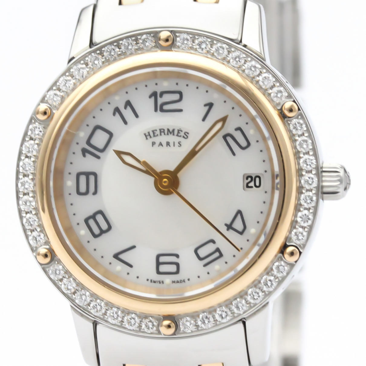 Hermès Clipper White gold and steel watch for Women \N