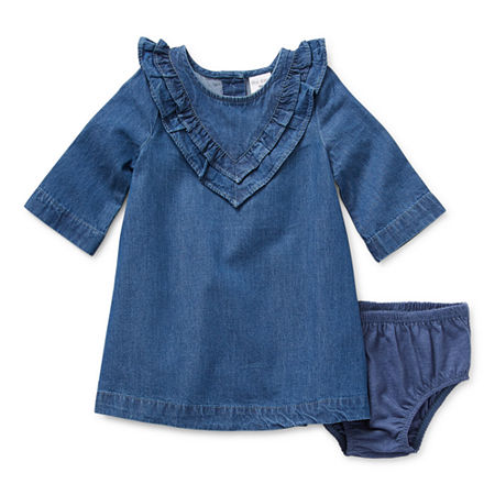 Okie Dokie Chambray Baby Girls Long Sleeve T-Shirt Dress, 12 Months , Blue