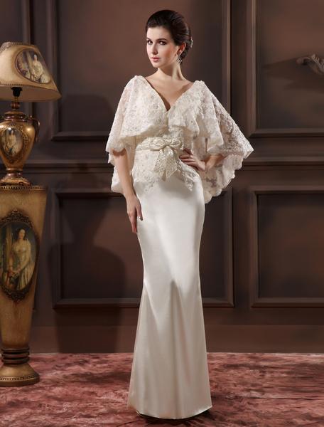 Milanoo Vestidos de fiesta largos Vestido de noche de saten elastico de color marfil con escote en V Vestidos de boda para huespedes