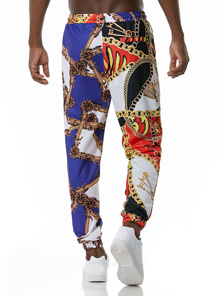 Milanoo Men\'s Trousers Palace No Waistline Straight Casual Printed Sweatpants Blue Men\'s Pants