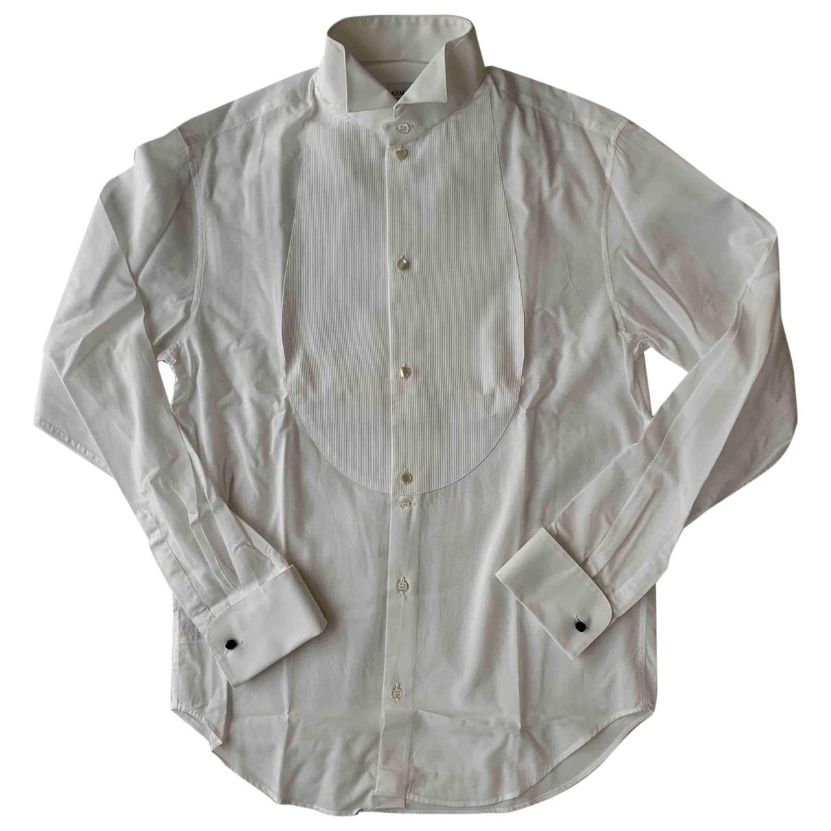 Armani Collezioni - Chemises   pour homme en coton - blanc