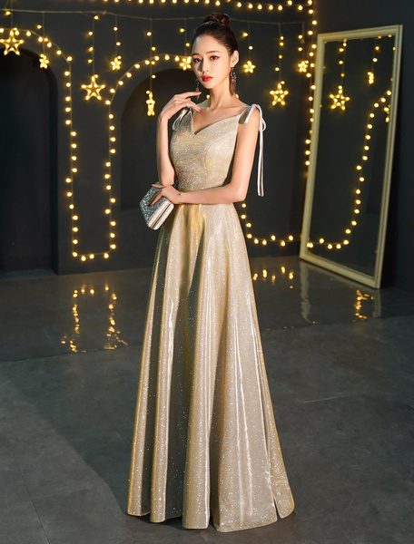 Milanoo Prom Dresses Long Sequin Champagne V Neck Maxi Formal Gowns