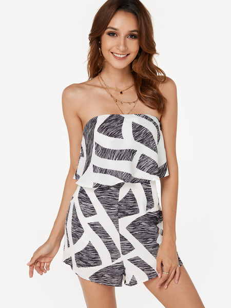 Yoins Sexy Off Shoulder Layered Design Playsuit