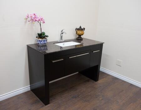 804380R Collection 804380-R-BL-TB 55 Single Sink Vanity with 1 Drawer  2 Doors  Baltic Brown Marble Countertop  Chrome Finish Hardware  White