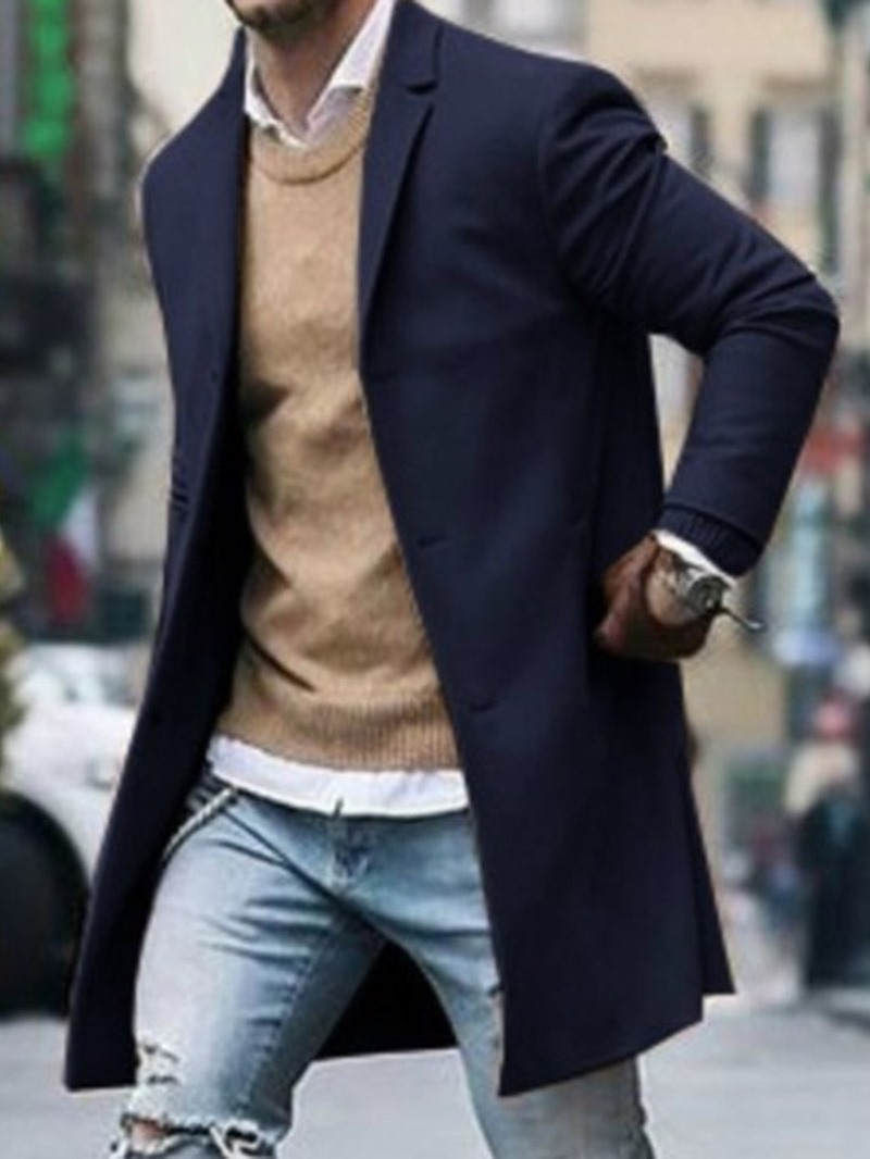 Ericdress Notched Lapel Mid-Length Plain Single-Breasted Men's Coat