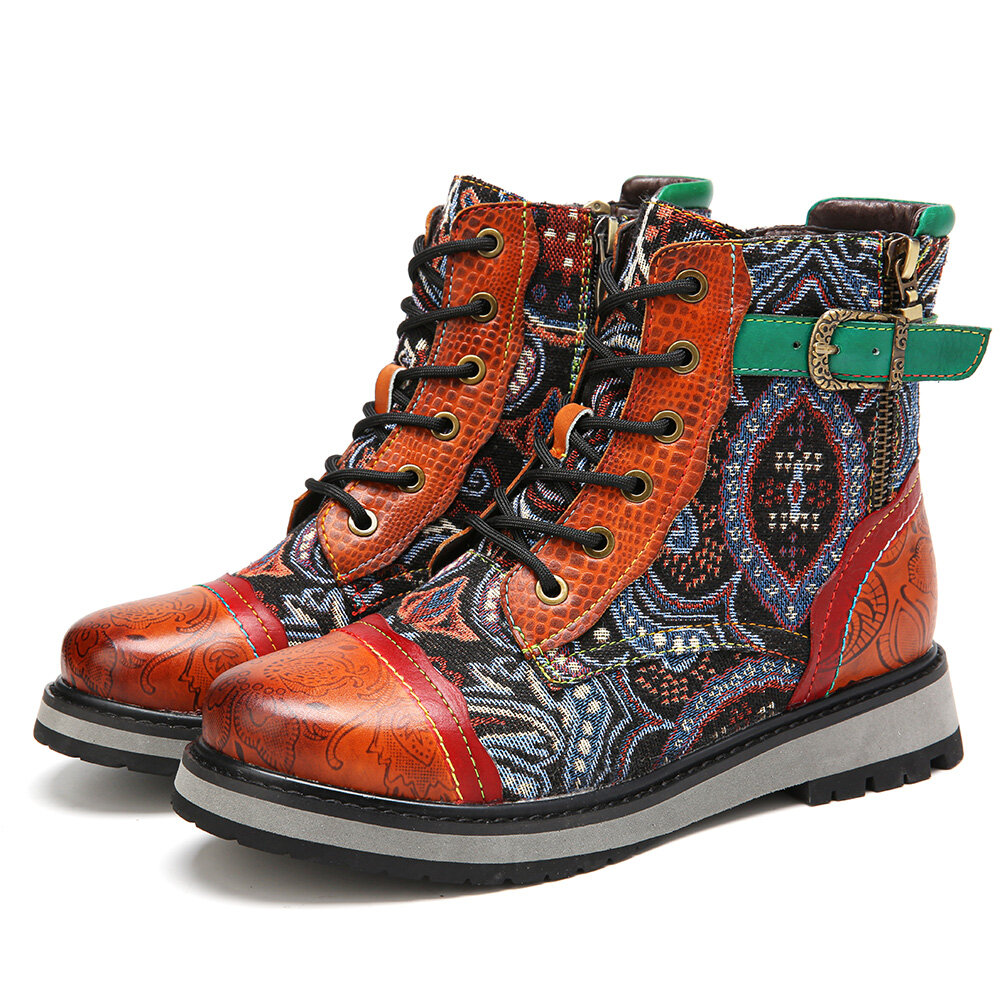 SOCOFY Retro Round Toe Floral Embossed Leather Lace-up Zipper Casual Flat Short Boots