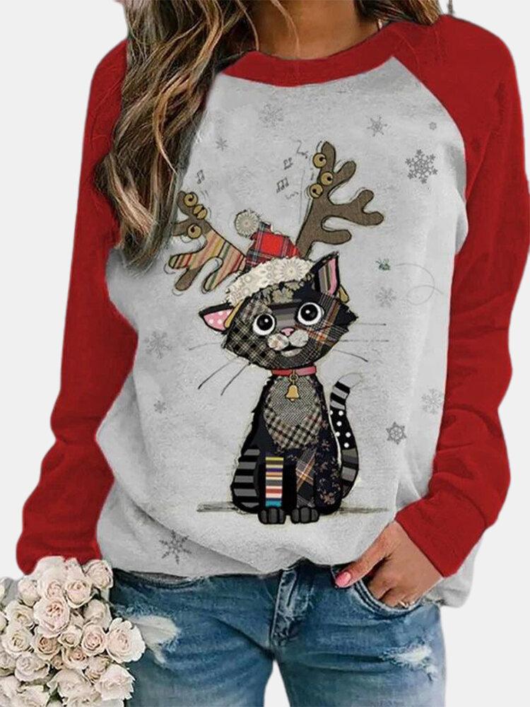 Cute Christmas Cartoon Print Raglan Sleeves O-neck Plus Size T-shirt