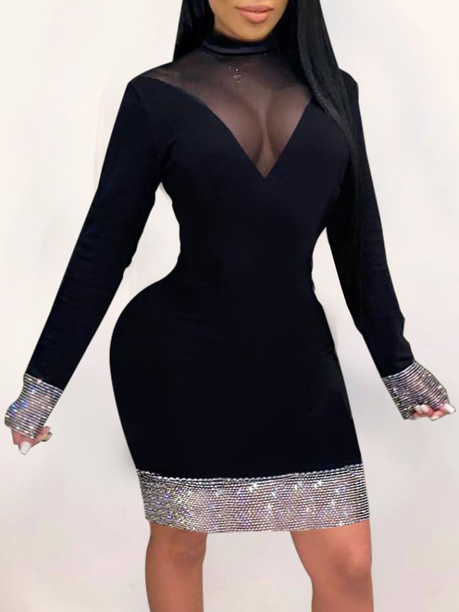 LW Lovely Party Half A Turtleneck Mesh Patchwork Black Knee Length Dress